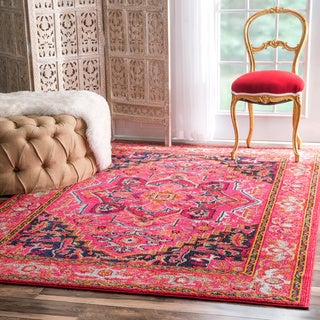 nuLOOM Traditional Flower Medallion Violet Pink Rug (7'10 x 11')
