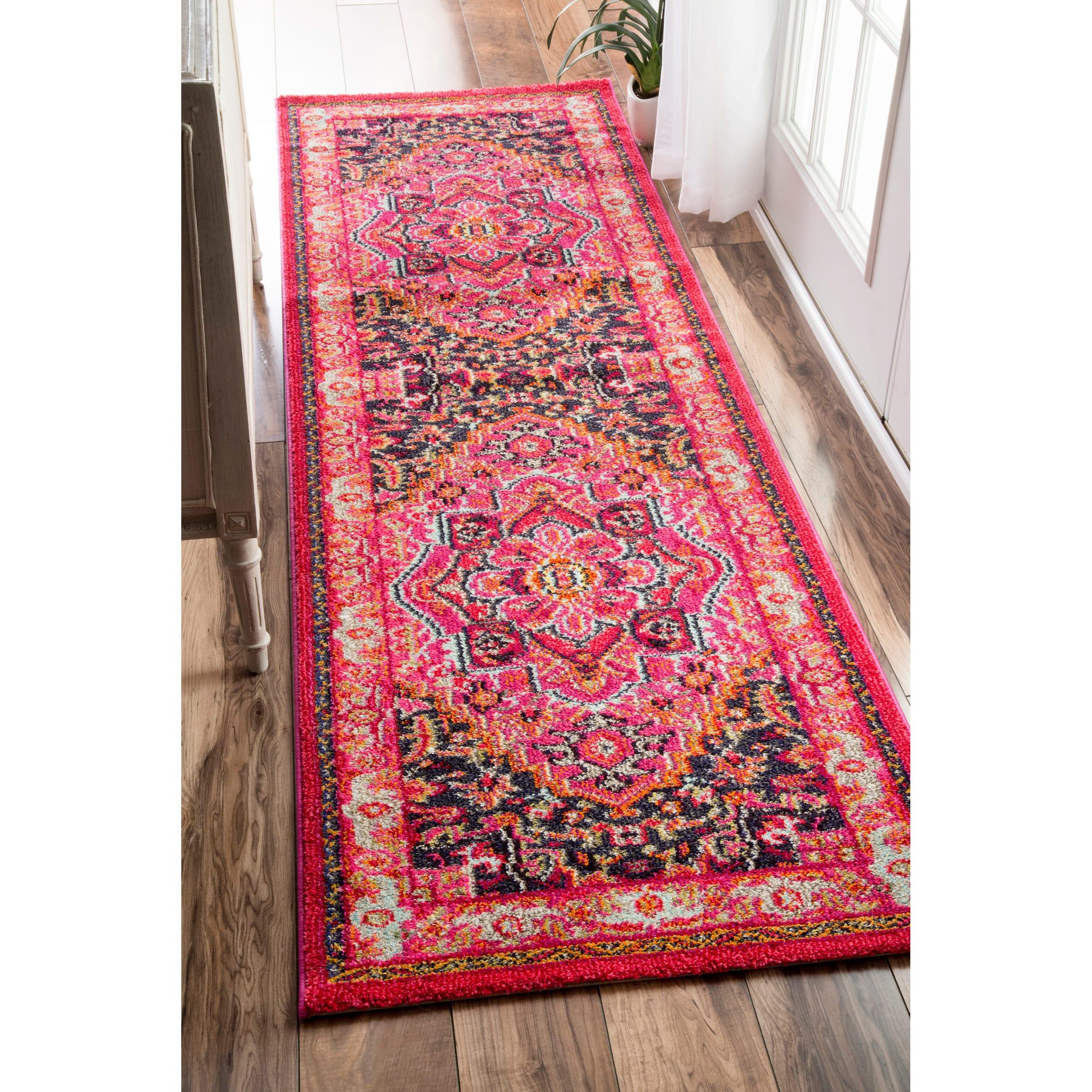 shop nuloom traditional flower medallion violet pink runner rug 2 39 6 x 8 39 free shipping on. Black Bedroom Furniture Sets. Home Design Ideas