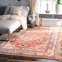 nuLOOM Traditional Floral Oriental Border Orange Rug - 7'10 x 10'10