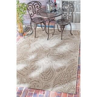 nuLOOM Vintage Stitched Paisley Indoor/ Outdoor Grey Rug (5'3 x 7'6)