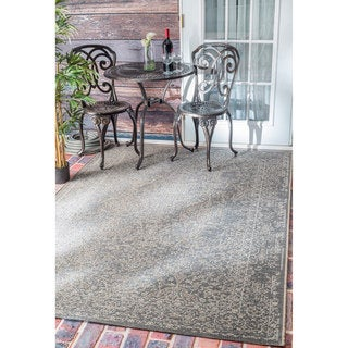 nuLOOM Vintage Stitched Damask Indoor/ Outdoor Grey Rug (7'10 x 11'2)