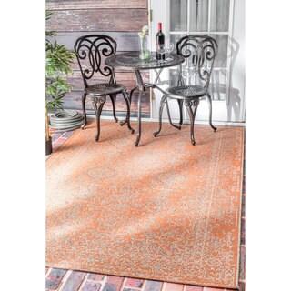 nuLOOM Vintage Stitched Damask Indoor/ Outdoor Orange Rug (7'10 x 11'2)