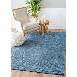 nuLOOM Handmade Flatweave Contemporary Solid Cotton Blue Rug (5' x 8')