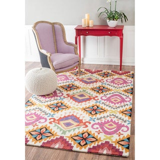 nuLOOM Handmade Abstract Floral Ikat Multi Rug (5' x 8')