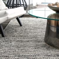 nuLOOM Handmade Flatweave Contemporary Solid Cotton Grey Rug (5' x 8') - 5' x 8'