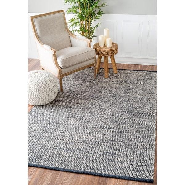 nuLOOM Handmade Flatweave Contemporary Solid Cotton Grey Rug (5' x 8')