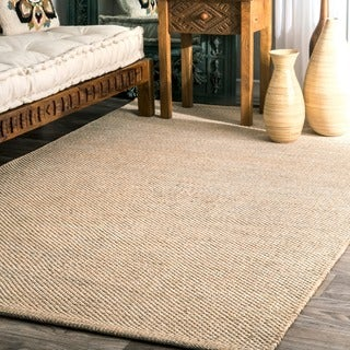 nuLOOM Handmade Flatweave Contemporary Solid Cotton Beige Rug (5' x 8')