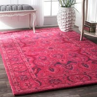 "nuLOOM Handmade Persian Overdyed Pink Wool Rug (8'6 x 11'6) - 8'6"" x 11'6"""