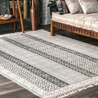 nuLOOM Handmade Flatweave Striped Diamond Border Cotton Fringe Grey Rug - 7'6 x 9'6