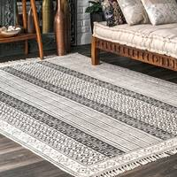 nuLOOM Handmade Flatweave Stiped Diamond Border Cotton Fringe Grey Rug (5' x 8') - 5' x 8'