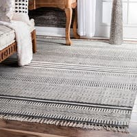Carbon Loft Francis Flatweave Textured Stripes Fringe Grey Area Rug