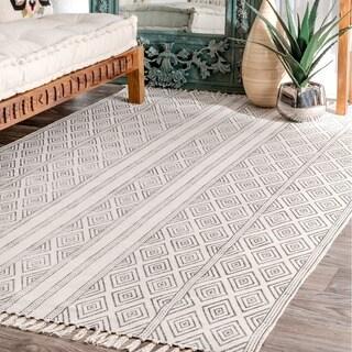 Strick & Bolton Ivie Handmade Flatweave Striped Trellis Cotton Fringe Off-White Area Rug - 7'6 x 9'6