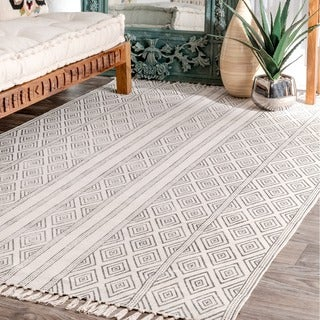 Strick & Bolton Ivie Handmade Flatweave Striped Trellis Cotton Fringe Off-White Area Rug - 5' x 8'