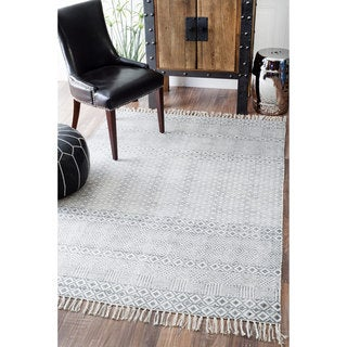 nuLOOM Handmade Flatweave Diamond Chain Cotton Fringe Grey Rug (7'6 x 9'6)