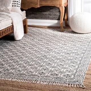 Nuloom handmade flatweave floral trellis cotton fringe off for Overstock free returns