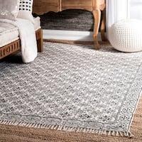 nuLOOM Handmade Flatweave Floral Trellis Cotton Fringe Off-White Rug (7'6 x 9'6)