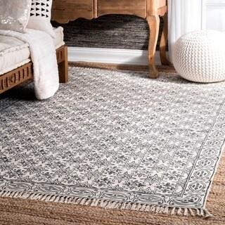 nuLOOM Off-White Handmade Flatweave Floral Trellis Cotton Fringe Area Rug