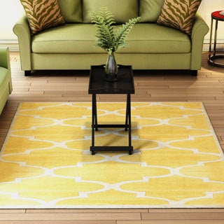nuLOOM Handmade Luna Moroccan Trellis Yellow Square Rug (6' Square)