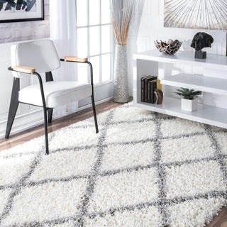 nuLOOM Soft and Plush Modern Diamond Trellis Moroccan Lattice Shag White Rug (9' x 12')