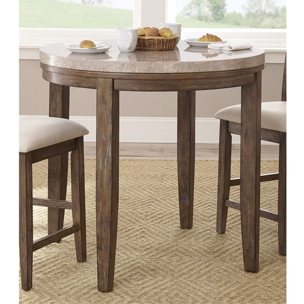 The Gray Barn Abernathy Marble Top Counter Height Bar Table - Counter height