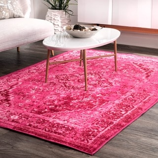 nuLOOM Traditional Vintage Inspired Overdyed Fancy Pink Rug (9' x 12')