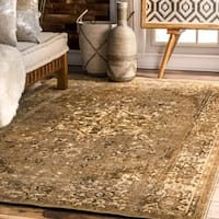 nuLOOM Traditional Vintage Inspired Overdyed Fancy Beige Rug (9' x 12')