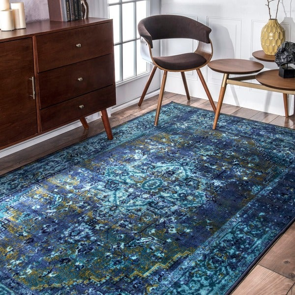 Nuloom traditional vintage inspired overdyed fancy blue for Vintage style area rugs