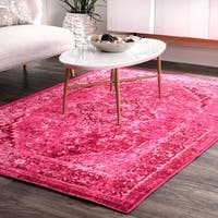 nuLOOM Traditional Vintage Inspired Overdyed Fancy Pink Area Rug (4'4 x 6') - 4' x 6'