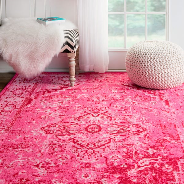 Shop Nuloom Traditional Persian Fancy Aqua Rug: NuLOOM Traditional Vintage Inspired Overdyed Fancy Pink