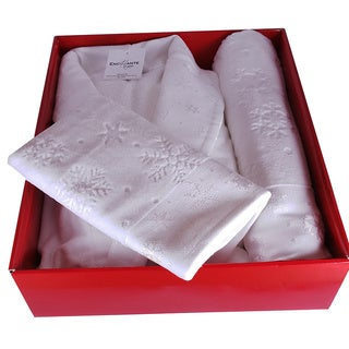 100-percent Turkish Cotton Christmas Themed Holiday 3-piece Bathrobe and Towel Set