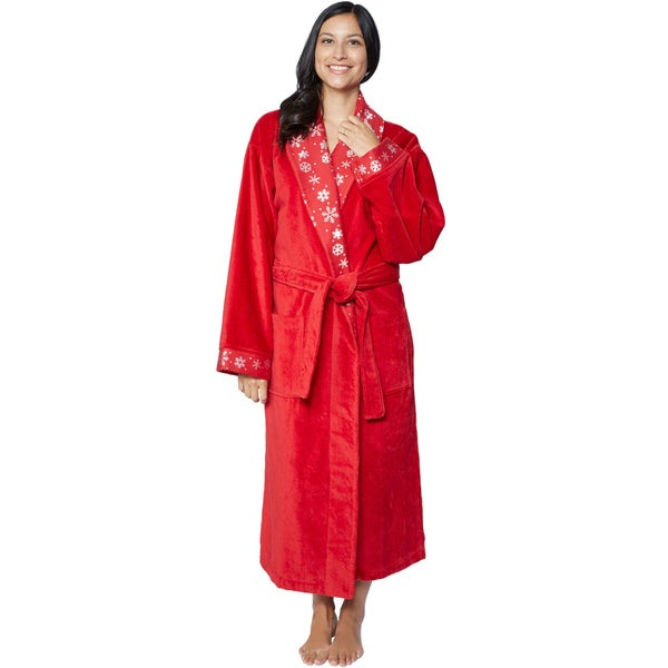 100-percent Turkish Cotton Christmas Themed Holiday 3-piece Bathrobe and Towel Set