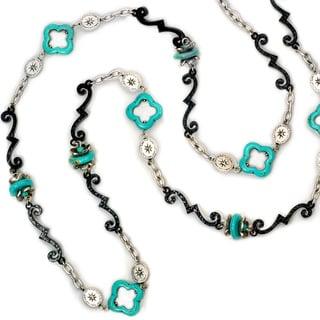 Sweet Romance Turquoise Black Silver Layering Southwest Necklace