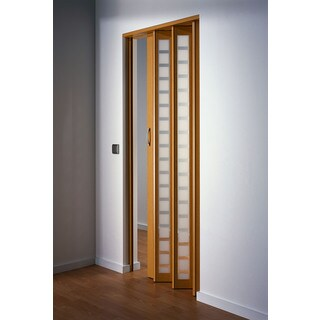 Captivating Homestyle Metro Beech With Frosted Squares Folding Door