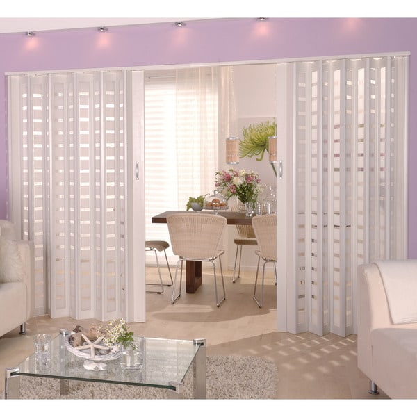 Homestyle Metro White with Frosted Squares Insert Folding Door ...