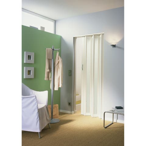 Homestyle Metro White with Turquoise Frosted Insert Folding Door
