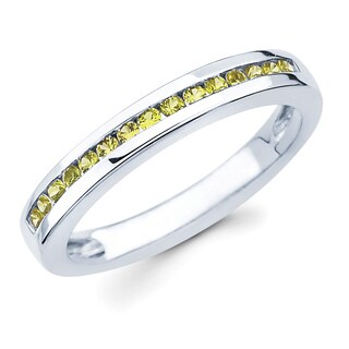 Boston Bay Diamonds 14k White Gold Yellow Sapphire Love Lock Wedding Band (G-H, SI1-SI2)