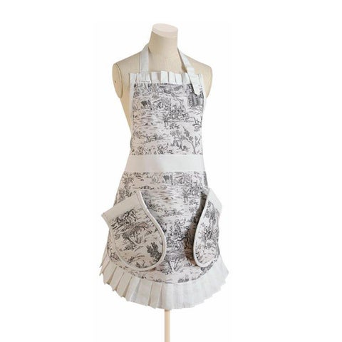 Pinny Pockets Country Willow Kitchen Apron with Oven Mitts
