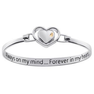 Two-Tone Memorial Heart Bangle with inside engraving