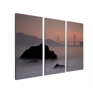 Moises Levy 'Rocks and Golden Gate Bridge' Gallery Wrapped Canvas Wall Art