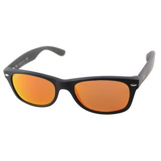 Ray Ban 2132 New Wayfarer Unisex Rubber Black Frame Amber Lens Sunglasses