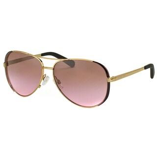 Michael Kors Womens Chelsea MK 5004 101414 Gold Dark Chocolate Brown Metal Aviator Sunglasses