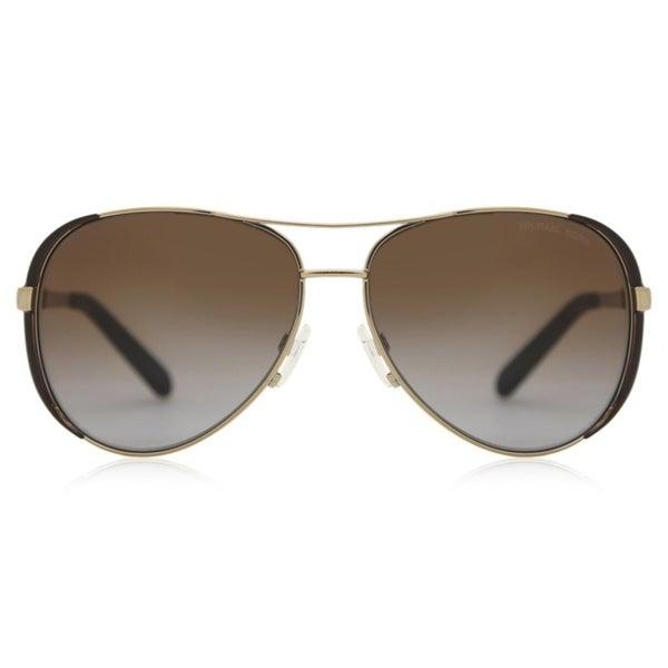 Michael Kors Womens Chelsea MK 5004 1014T5 Gold and Black Metal Aviator Polarized Sunglasses