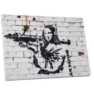 Banksy 'Mona Lisa Wtih Bazooka' Gallery Wrapped Canvas Wall Art