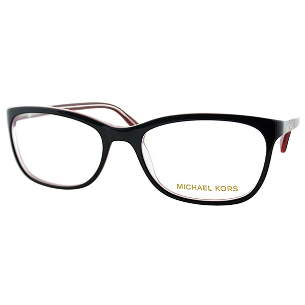 6266712a26 Michael Kors Womens MK 247 021 Black Rectangle Plastic Eyeglasses-54mm