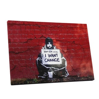 Banksy 'I Want Change' Gallery Wrapped Canvas Wall Art
