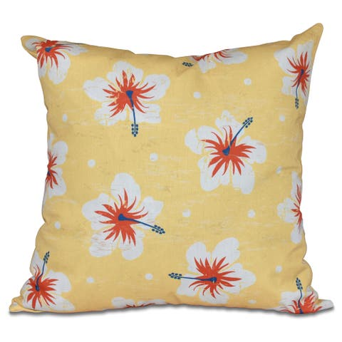 Hibiscus Blooms Floral Print 20-inch Pillow