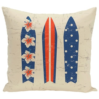 Triple Surf 18-inch Geometric Print Pillow