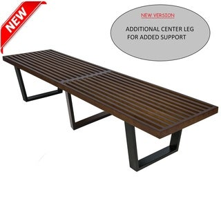 LeisureMod Inwood Dark Walnut 6-foot Bench