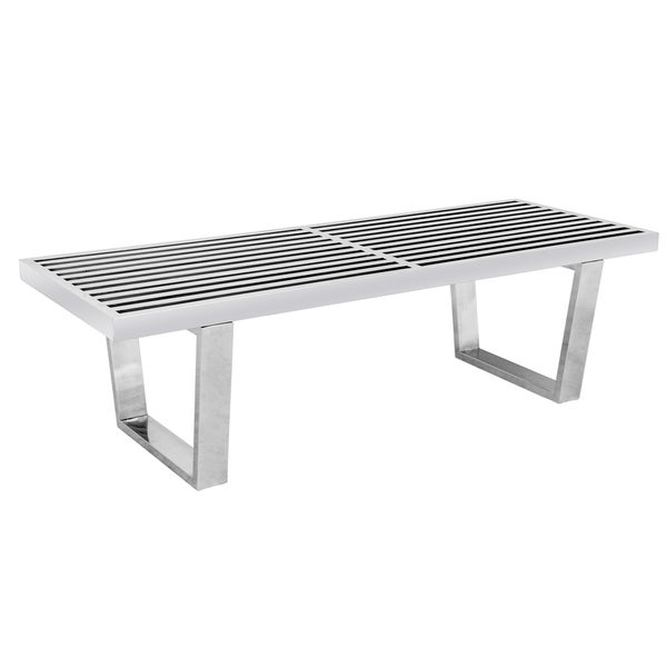 Shop LeisureMod Inwood Stainless Steel Foot Platform Slat Bench - 4 foot stainless steel table