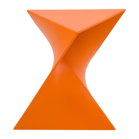 LeisureMod Quinzy Vanity Stool/Side Orange Table